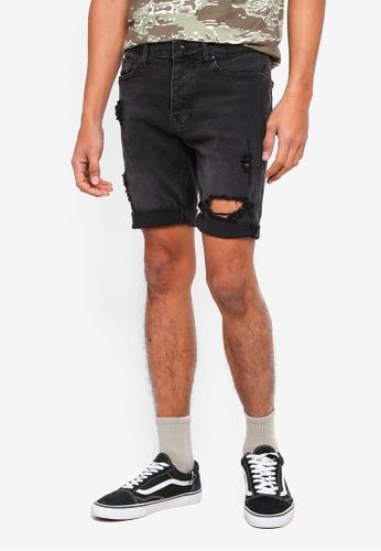 Topman 黑色 緊身刷破牛仔短褲 CA496AA5C20985GS_1