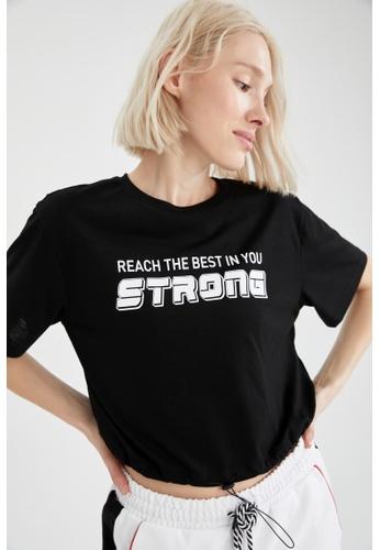DeFacto black Short Sleeve Athleisure T-Shirt BCBB6AADB517C9GS_1