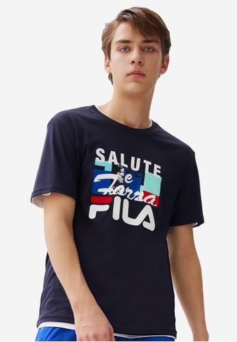 FILA navy FILA Logo Theme Printed Cotton T-shirt 40D06AA8E5AF5CGS_1