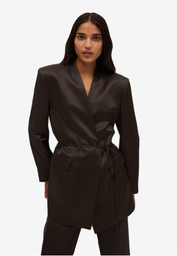 Mango brown Satin Suit Blazer 0E5E5AA9AAF255GS_1