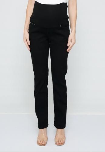 9months Maternity black Black Full Panel Straight Leg Jeans 689A5AA71056BCGS_1