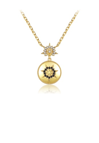 Glamorousky white Fashion Simple Plated Gold Geometric Pattern Round Pendant with Cubic Zirconia and Necklace 922D7AC0FFCE73GS_1