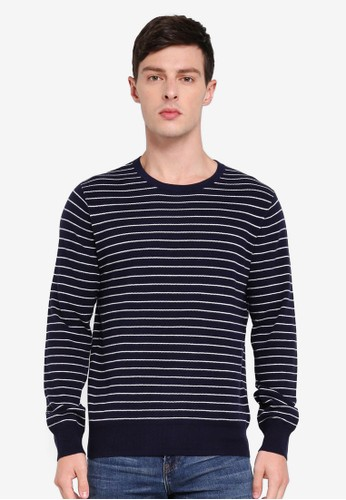 J.Crew navy Cotton Pique Stripe Sweater 23AD2AAEE22753GS_1