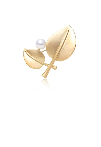 Glamorousky white Simple and Fashion Plated Gold Double Leaf Imitation Pearl Brooch A8B11AC18DE141GS_1
