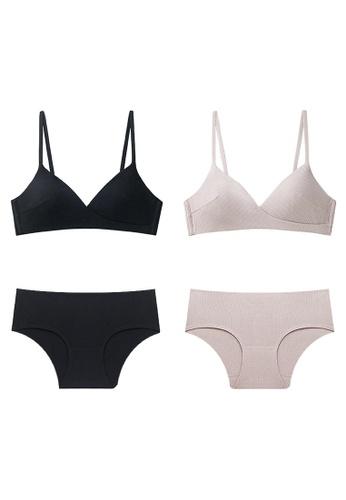 K.Excellence pink Premium Comforn Black&pink Lingerie Set (Bra and Underwear) DA995US6413467GS_1