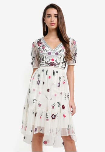 Frock and Frill white Bethannie Floral Embellished V-Neck Dress 09842AAC882EFCGS_1