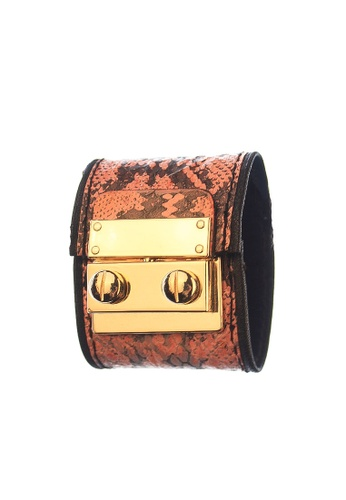 CSHEON pink Secret Code Cuff - Snakeskin Peach Leather Bracelet Cuff 78204ACF24B30FGS_1