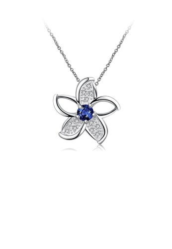 Glamorousky blue Fashion Elegant Flower Pendant with Blue Cubic Zirconia and Necklace 09BA1ACAA02133GS_1