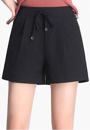 Twenty Eight Shoes black VANSA Icy Wide-leg Shorts VCW-St8023 8180CAA007D073GS_1