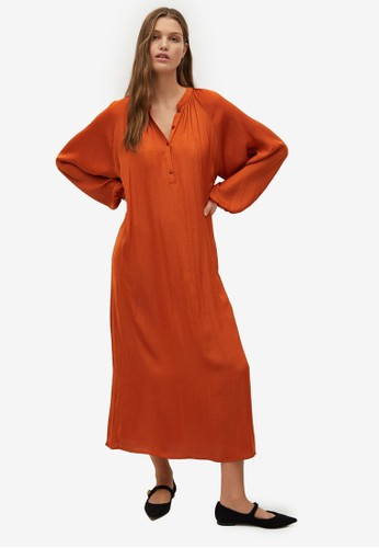 Mango orange Flowy Puffed-Sleeve Dress B64BBAAA23E59BGS_1