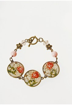 WLB012 Women's Bracelet with Flower Beads and Flower Photos