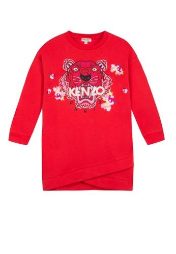 KENZO KIDS red KENZO TIGER GIRLS DRESS 3B133KA4286569GS_1