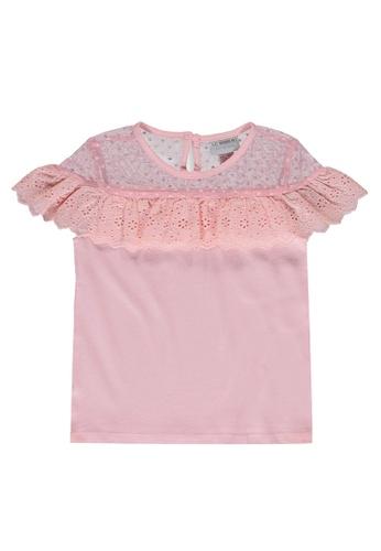 LC Waikiki pink Girl's Scallop Detailed Cotton Top 77876KA138E29AGS_1