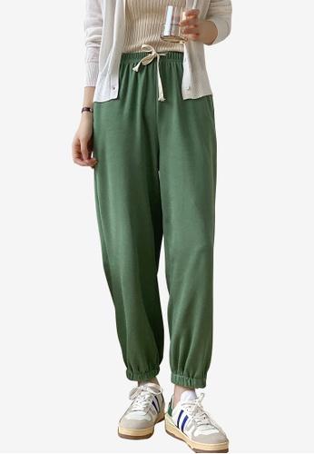 Zafiti green Women's Korean Style Drawstring Waist Ankles-tied Cotton Pant - Green 6B5A4AAED98F76GS_1