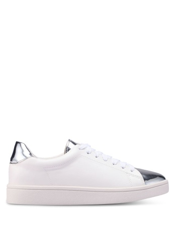 Something Borrowed white and silver Metallic Toe Cap Sneakers 3CCD3SH75E61A7GS_1