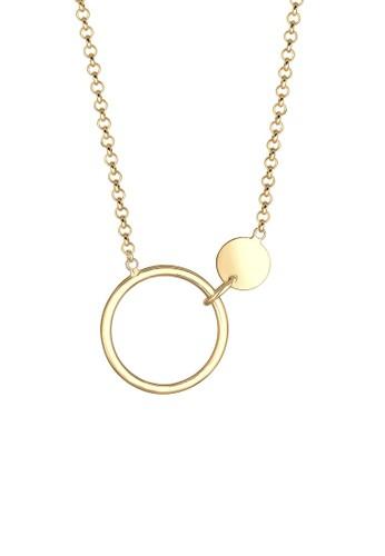 Elli Germany gold Perhiasan Wanita Perak Asli - SilverKalung Circle Plate Geo Lapis Emas 3682DAC2BD126FGS_1