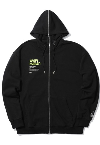 Fivecm black Over Human zip panelled hoodie 7A899AAD9285EDGS_1