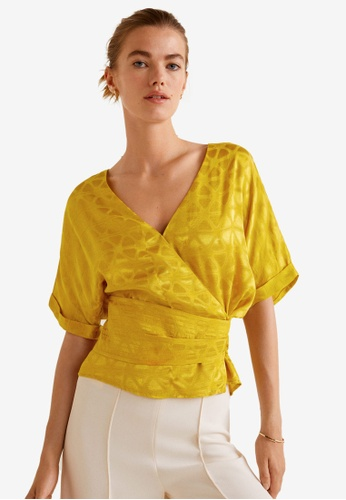 Mango yellow Jacquard Flowy Blouse 8DD48AAD30E70FGS_1