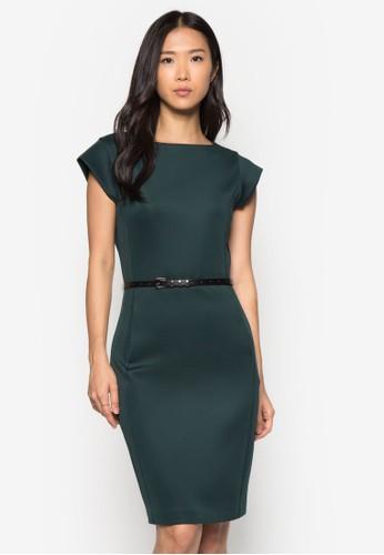 簡約腰帶短袖連身裙, 服飾, 正式zalora是哪裡的牌子洋裝