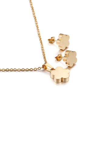 Glamorousky silver Fashion and Simple Plated Gold Flower 316L Stainless Steel Necklace and Stud Earrings Set 32863AC4DC59C7GS_1