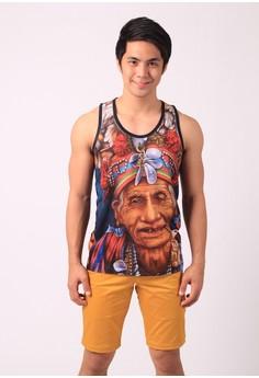 Tribal Man Print Cotton Tank