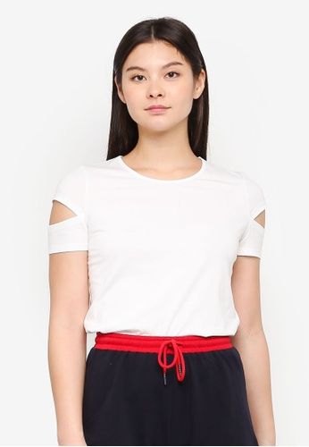 Something Borrowed white Cut Out Sleeves Tee 5EDC1AA60CE757GS_1