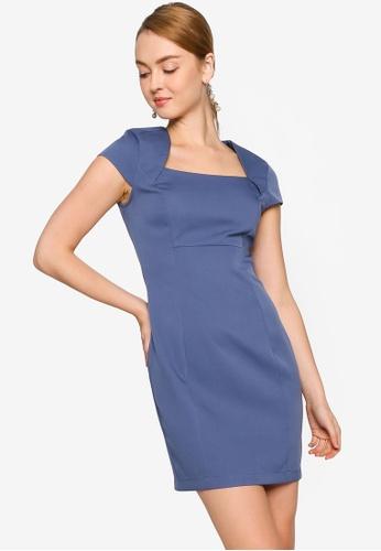 ZALORA WORK blue Cap Sleeve Square Neck Dress B38B3AA76F7104GS_1