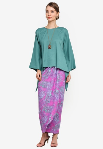 Yans Creation pink and green Adara Kurung Pario FF524AA2283F5BGS_1