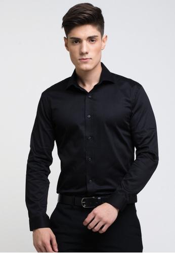 Buy The Executive Long Sleeve Solid Black Shirt Online | ZALORA ...