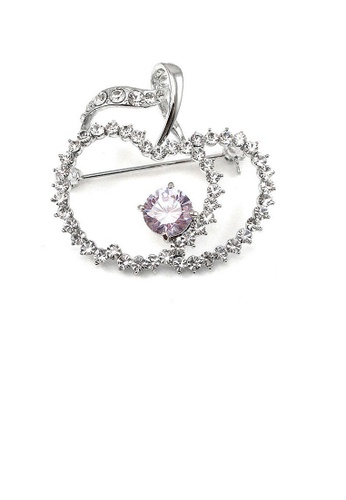 Glamorousky purple Elegant Apple Brooch with Silver and Purple Austrian Element Crystals 0708BACA867D50GS_1