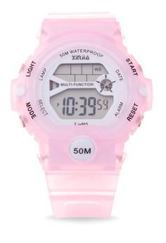 Sport Unisex Pink Resin Strap Watch XJ-865-Pink