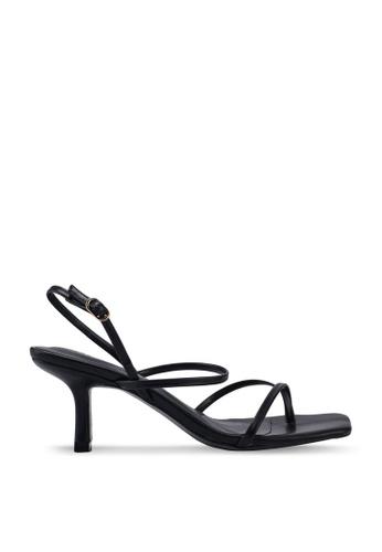 Kimmijim 黑色 Pansy Toe Ring Ankle Strap Heels DB34FSH0C58EBFGS_1