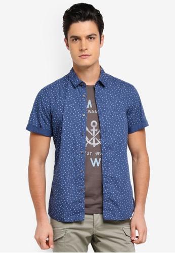 ESPRIT blue Woven Short Sleeve Shirt 61570AA614CA4BGS_1