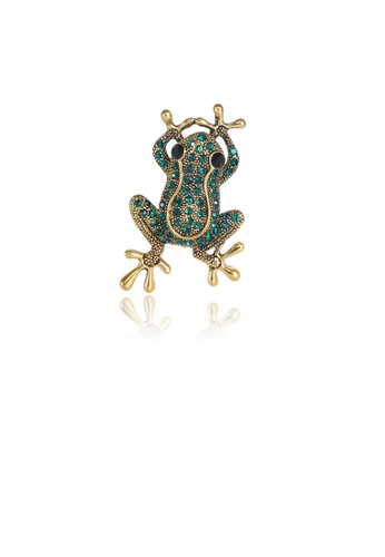 Glamorousky green Fashion and Simple Plated Gold Frog Brooch with Green Cubic Zirconia 6E128ACF85C84BGS_1