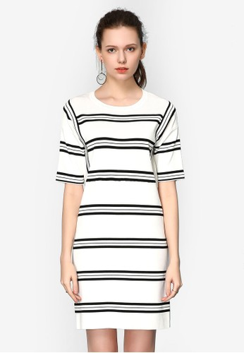 Hopeshow white Long Striped Knitted Dress 83A51AA96BDA0CGS_1