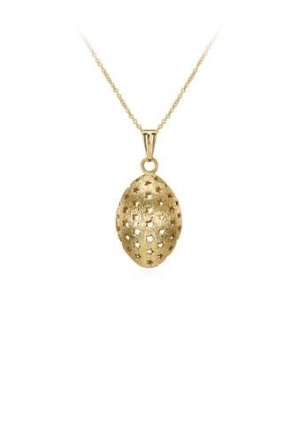 Glamorousky silver Fashion Elegant Plated Gold Oval Hollow Star Pendant with Necklace DABAFACEA61D94GS_1