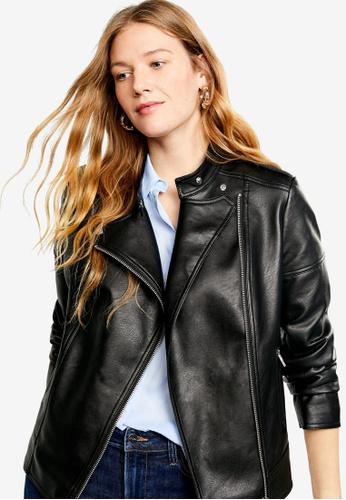 Violeta by MANGO black Plus Size Asymmetric Zip Jacket 839E4AADAF5E04GS_1
