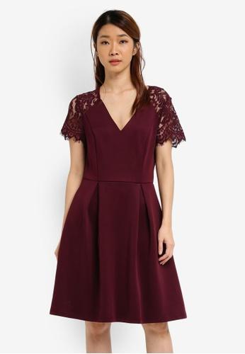 Dorothy Perkins red Petite Wine Scuba Lace Dress DO816AA0SJ6CMY_1