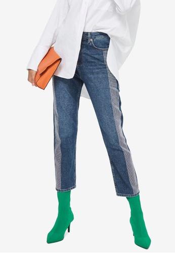 TOPSHOP blue Moto Diamante Stripe Straight Leg Jeans E1C7CAAEAEBD4EGS_1