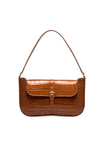 By Far brown By Far Miranda Croco Embossed Leather Shoulder Bag in Tan 7CD37ACA65D3D2GS_1