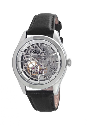 Kenneth Cole black and silver Kenneth Cole Skeleton Automatic Silver/Black Leather Watch KE854AC10CYNSG_1