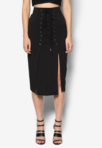 繫帶裹飾及膝裙, zalora是哪裡的牌子服飾, 裙子