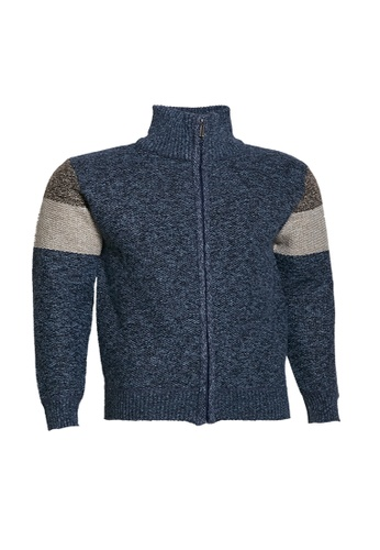 Universal Traveller blue Universal Traveller Henley Mock Neck Bonded Knitted Sweater - KS 9151 2F5E9AAEF50EC5GS_1