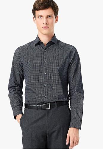 MARKS & SPENCER navy Pure Cotton Slim Fit Mini Swirl Print Shirt 3E805AA4237B85GS_1