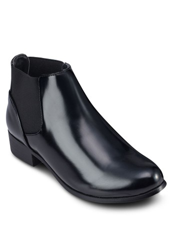 Chelsea 仿皮低跟踝靴, zalora 台灣女鞋, 靴子