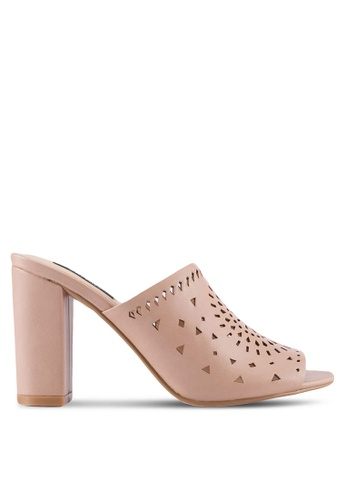 ZALORA beige Cut-Out Detail Slipped On Heels 05C3ASH2BBBADDGS_1