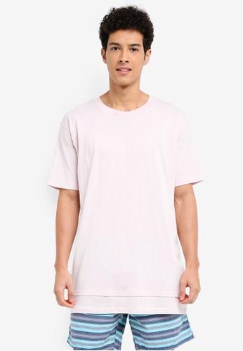Cotton On 粉紅色 素色刺繡層次T恤 2636BAA0AEBC14GS_1