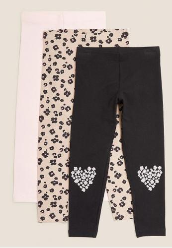 MARKS & SPENCER multi 3pk Cotton Patterned Leggings 60715KA5ED4570GS_1