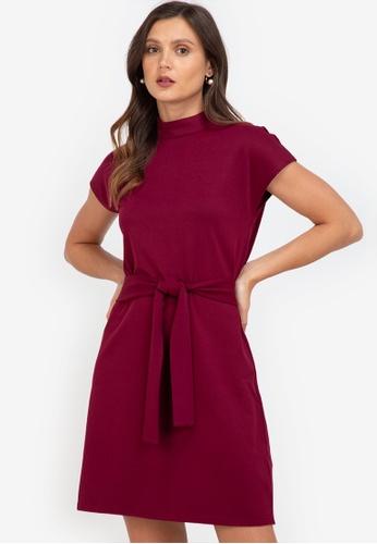 ZALORA WORK purple Mock Neck Self Tie Dress 37C46AA386673DGS_1