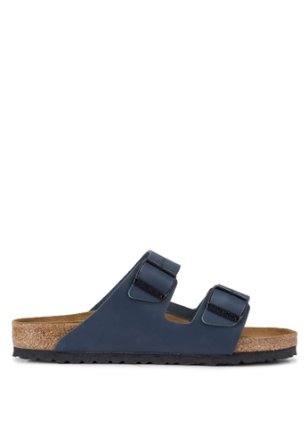 Birkenstock blue Arizona Smooth Leather Sandals BI090SH94JPLMY_1